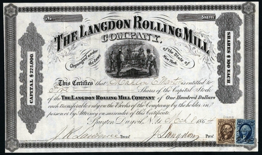 langdon-rolling-mill-co-stock-cert