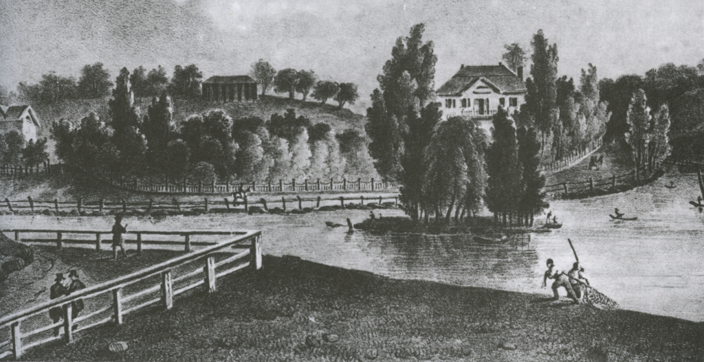 J. Milbert's depiction of the area depicts a similar scene with locals harvesting oysters right out of the creek. The house behind the little island is the Macomb mansion, which may have incorporated the tavern in whole or in part.