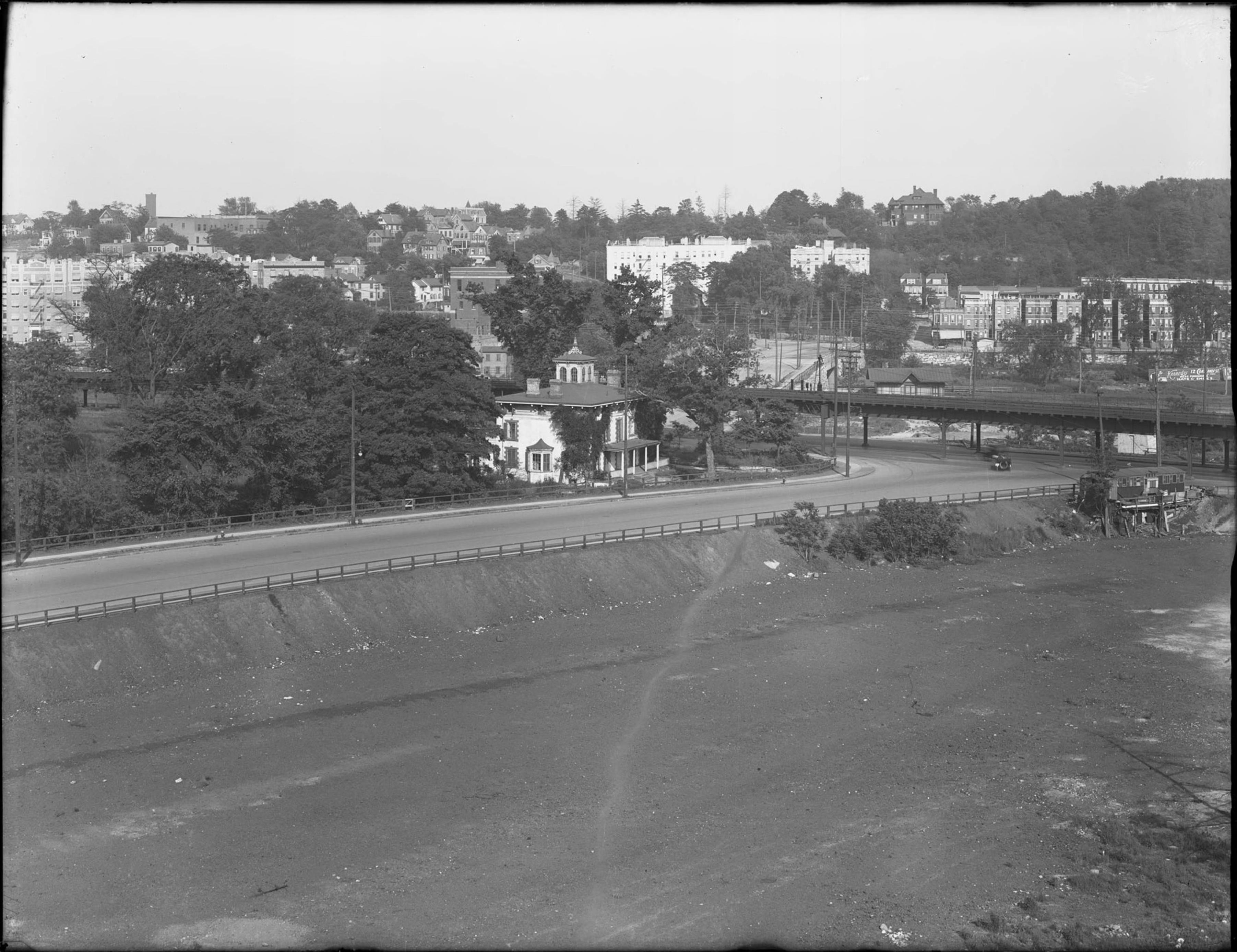 Part 1 of a panorama of Broadway, Kingsbridge Avenue, Bailey Avenue, and Crescent Road, Bronx, June 2, 1916. Photographed for Joseph P. Day.
