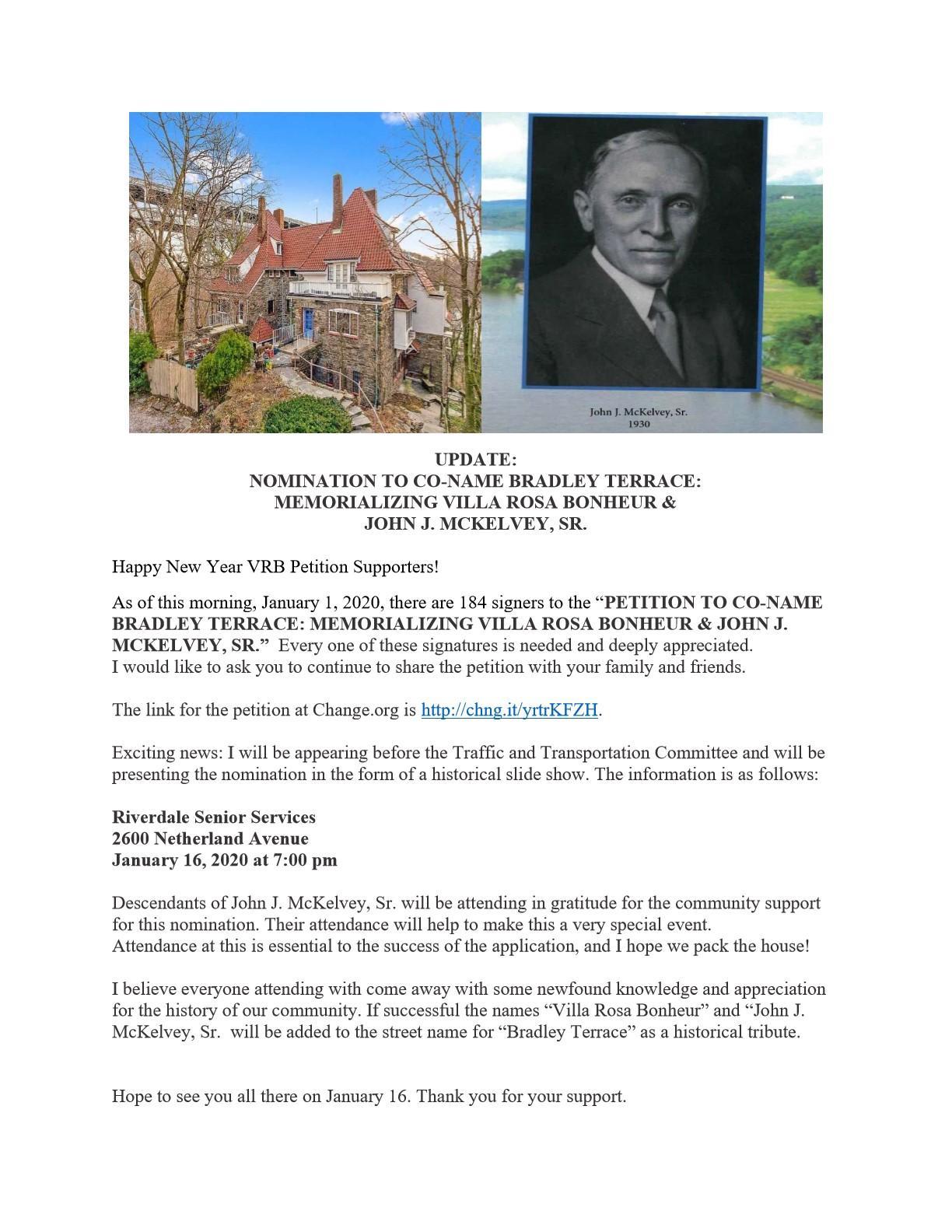 UPDATE:  NOMINATION TO CO-NAME BRADLEY TERRACE:  MEMORIALIZING VILLA ROSA BONHEUR &  JOHN J. MCKELVEY, SR.