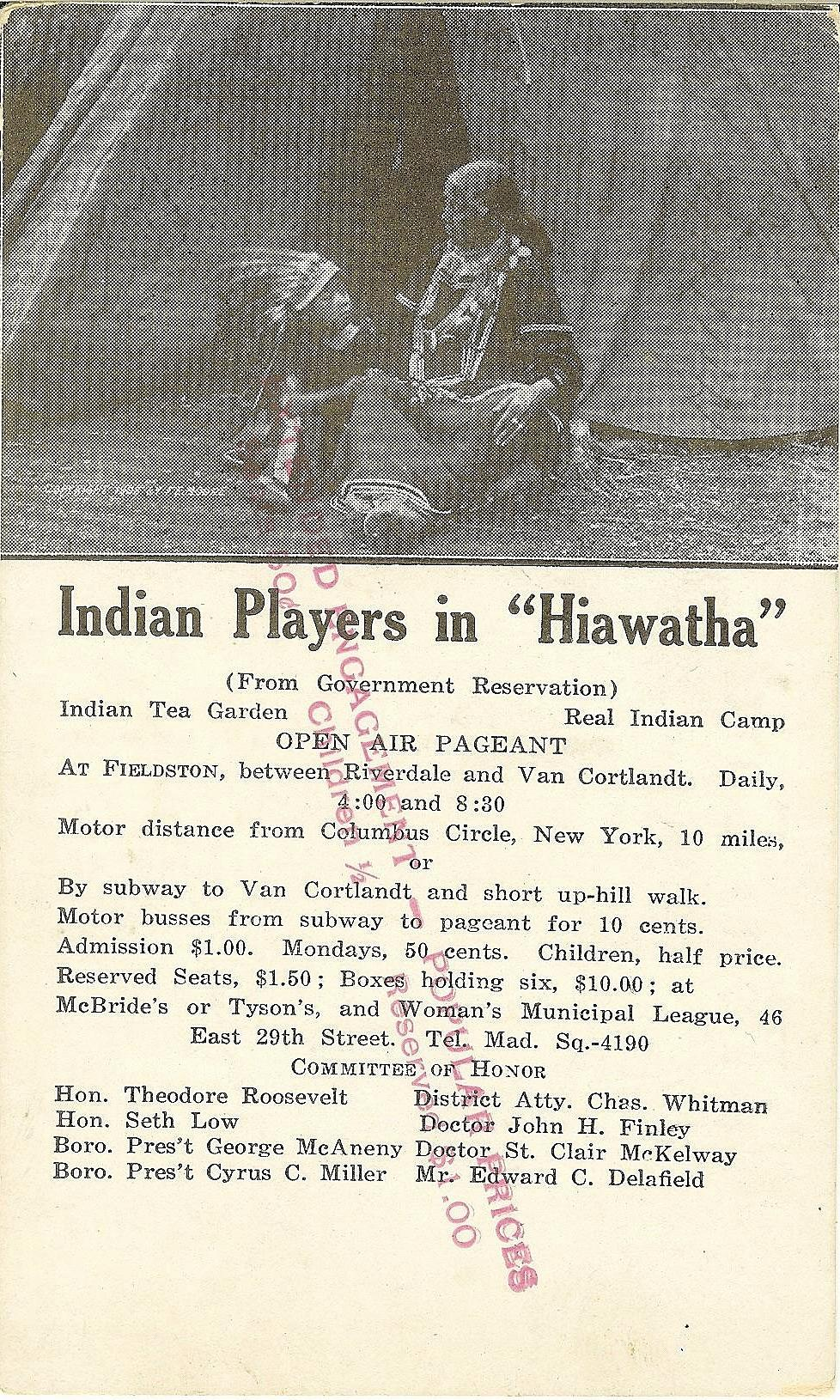 1913 postcard advertising Hiawatha