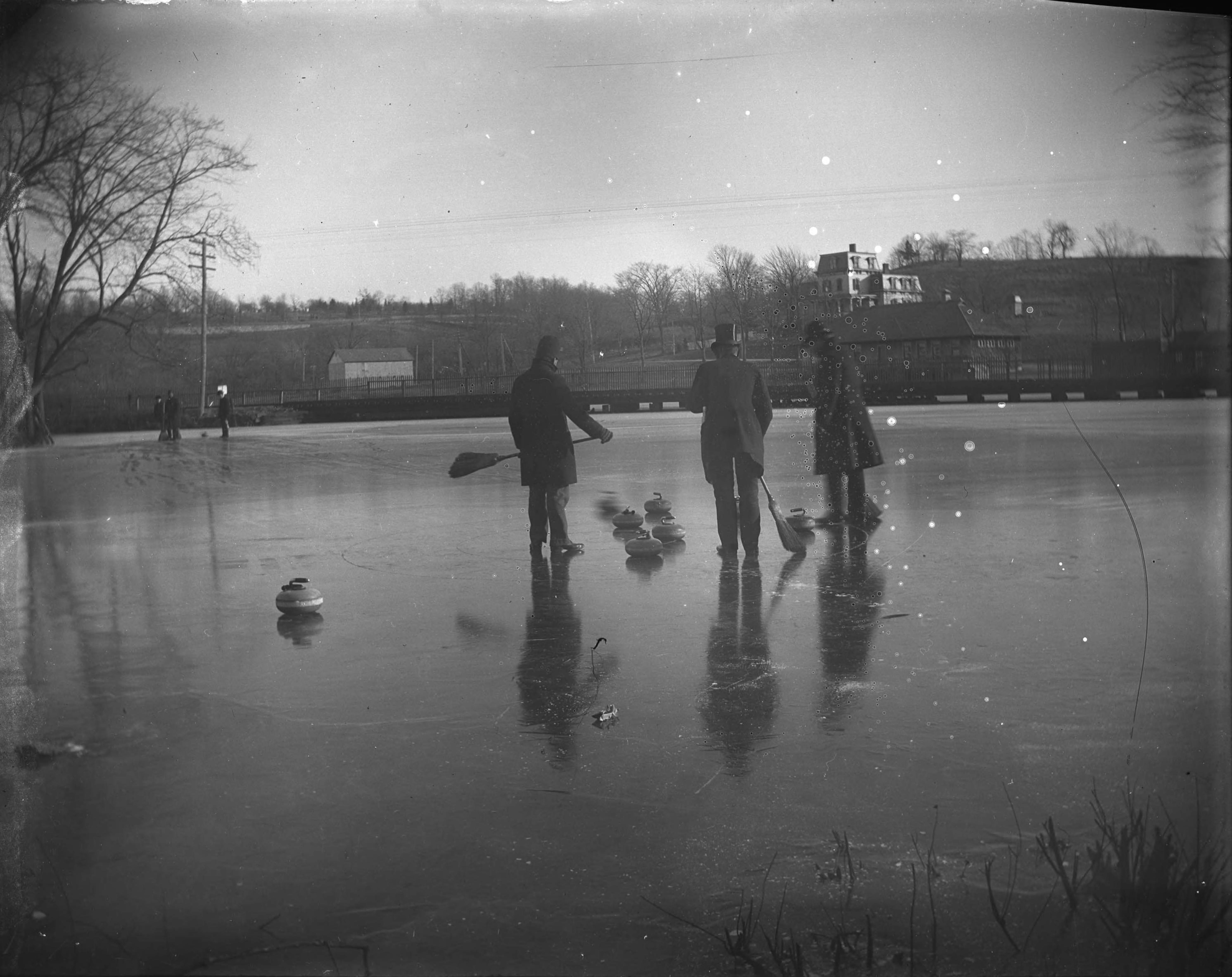 Curling on Van Cortlandt Lake, Van Cortlandt Park, Bronx, N.Y., February 1902.