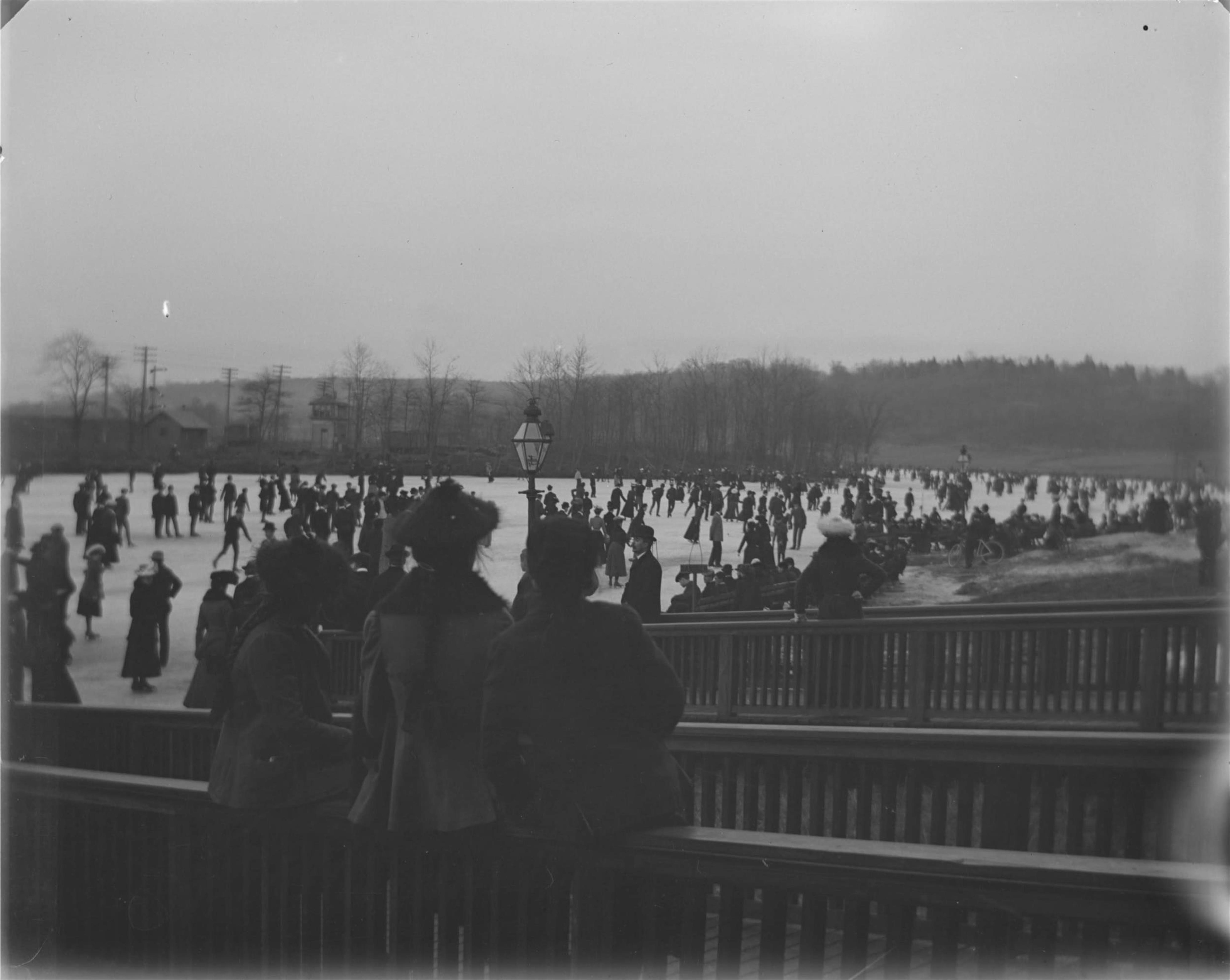 Ice skaters in Van Cortlandt Park, Bronx, N.Y., undated [c. 1900-1905?].