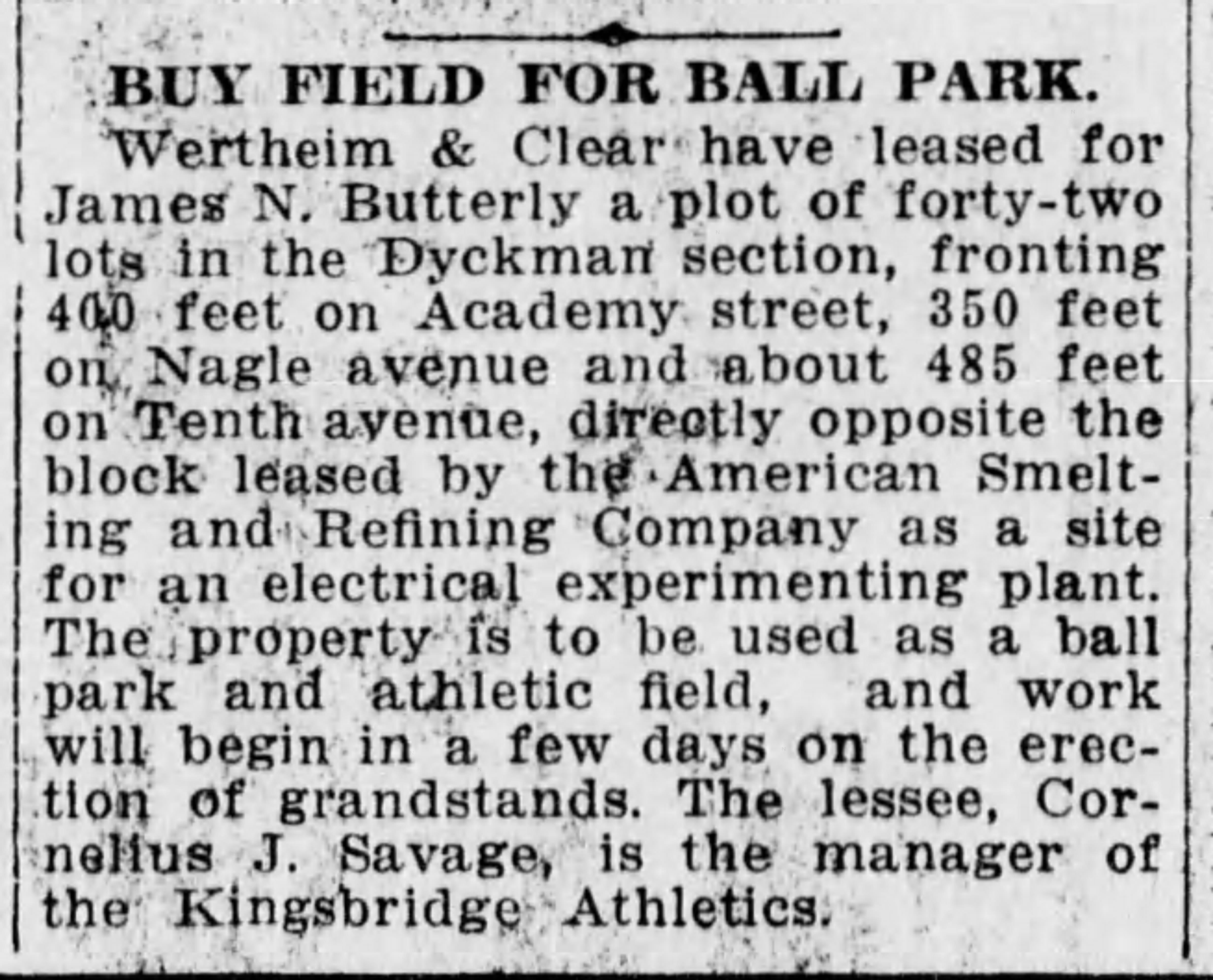 Kingsbridge Athletics sign lease for Dyckman Oval 1917