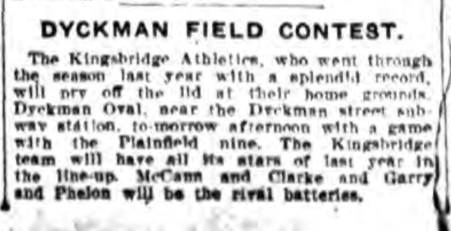 Kingsbridge Athletics baseball 1915 Dyckman Oval