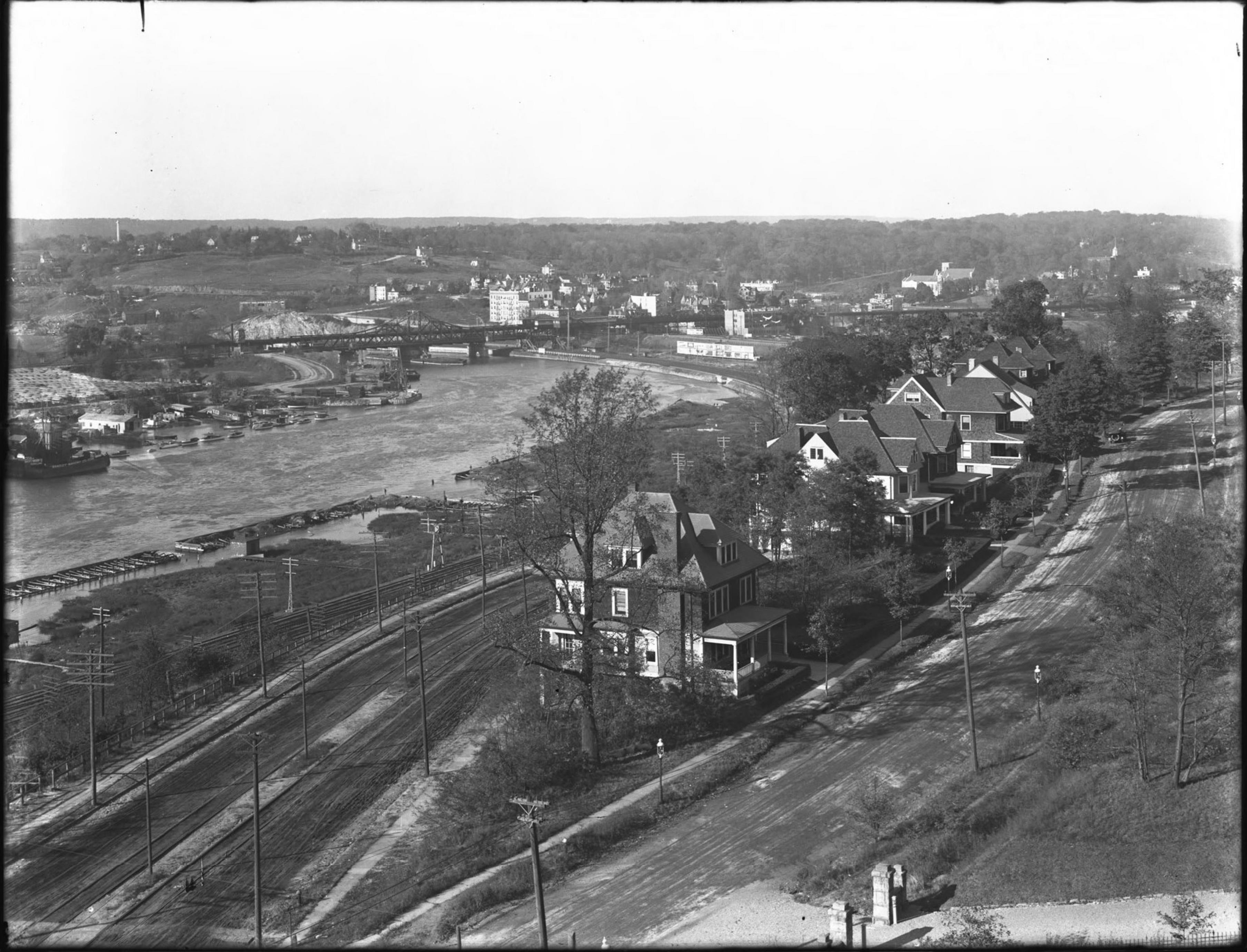 View of Kingsbridge / Marble Hill and the Harlem River around 225th Street from Webb College [i.e. Webb's Academy and Home for Shipbuilders], Bronx, October 22, 1914.