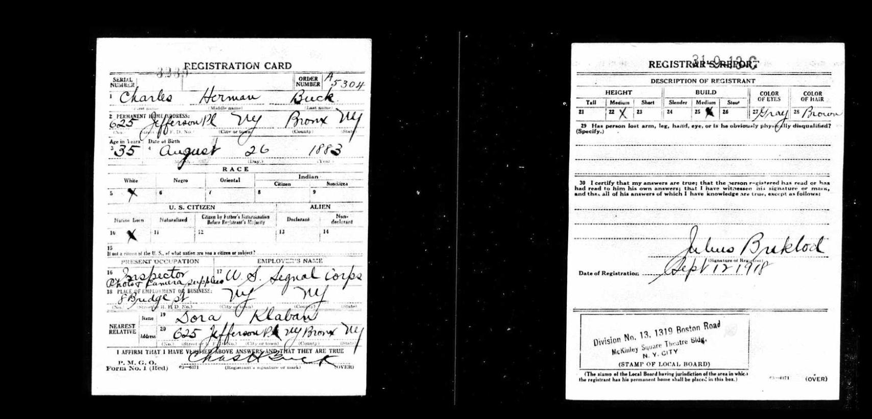 Charles H. Buck Draft Card