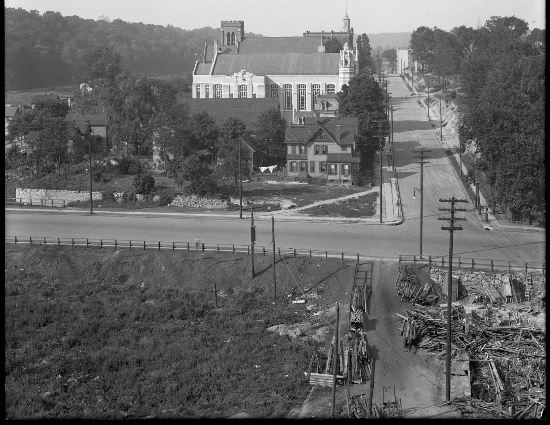 Part 3 of a panorama of Broadway, Kingsbridge Avenue, Bailey Avenue, and Crescent Road, Bronx, June 2, 1916. Photographed for Joseph P. Day.