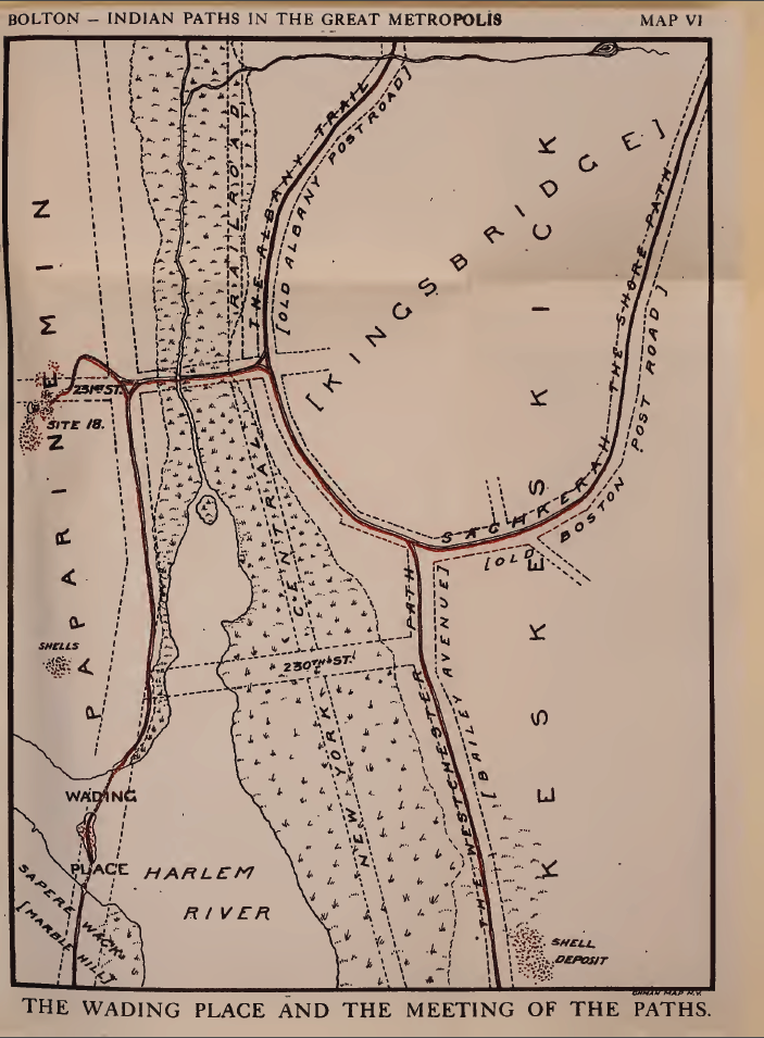 """Map of the Wading Place from """"Indian Paths in the Great Metropolis"""""""