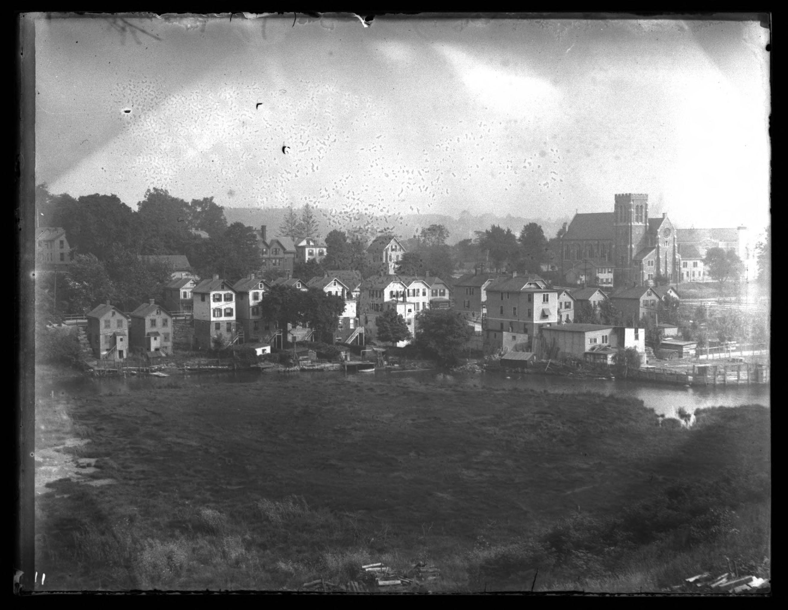 Tibbett's Brook, with the Church of the Mediator at right, Bronx, N.Y., undated (ca. 1915)