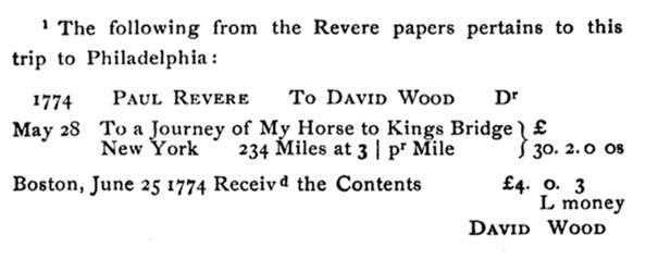 Paul Revere Invoice