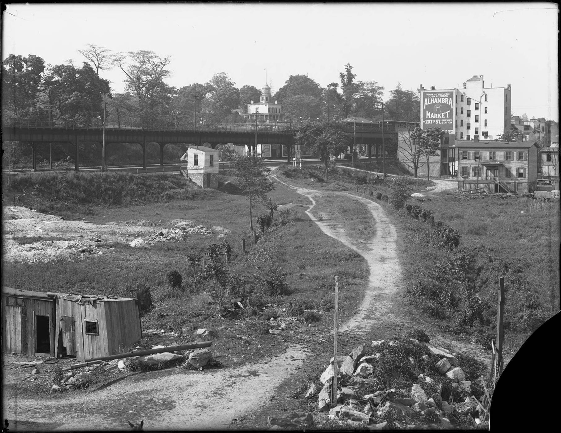 View of the old New York Central Railroad tracks, looking north from W. 230th Street, Bronx, June 2, 1916.