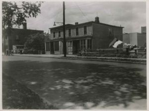 Two houses that stood where the Major Deegan Expressway runs today on Albany Crescent north of W. 231st Street, May 31, 1949.