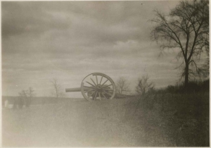 A view of a cannon on Spuyten Duyvil, ca. 1950.