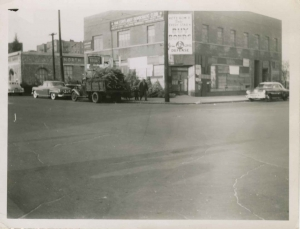 View of building at northwest corner of W. 231st Street and Albany Crescent (torn down for Major Deegan), ca. 1951