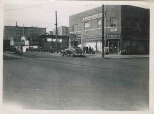 Looking northwest on W. 231st St w/Northside Savings Bank under construction, ca. 1951.