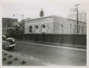 Looking west toward completed Northside Savings Bank on West 231st St, ca. 1951