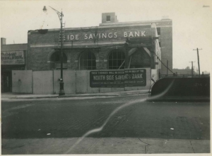View of Northside Savings Bank under construction on W. 231st St, ca. 1951