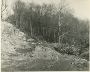 Excavation of Puddlers Row, 1964.