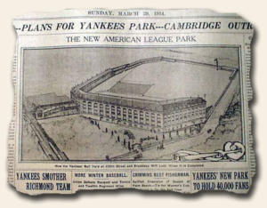 Plan for original Yankee Stadium at Marble Hill